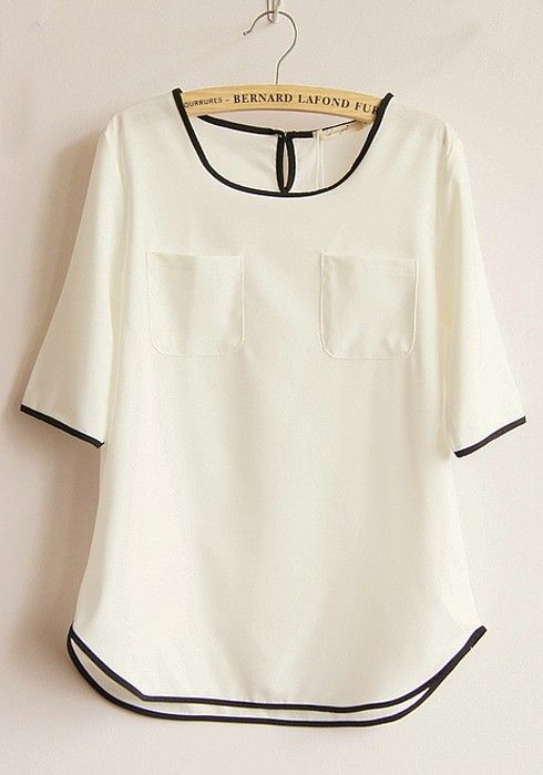 White Color Block Short Sleeve Linen Blend Blouse