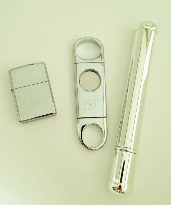 engraved cigar cutter, tube + lighter