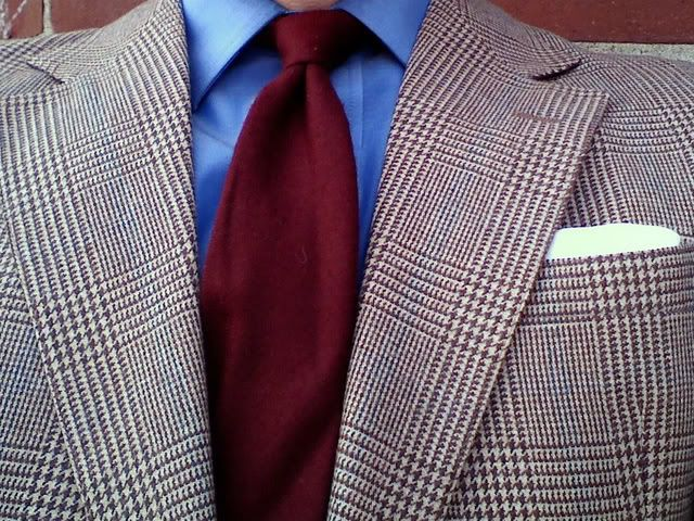 Tweed, blue and red