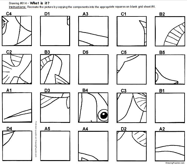 Drawing grid, Art worksheets, Puzzle drawing