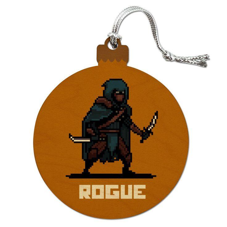 8-Bit Pixel Retro Rogue Thief Assassin Games Rpg Wood Christmas Tree Ornament