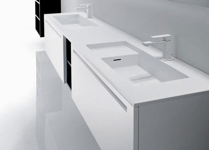 Piano in Cristalplant con doppio lavabo integrato (Square)  //  Top in Cristalplant with double built-it basin (Square) // project by: Michael Schmidt ///   http://www.cristalplant.it  ///   http://www.falper.i
