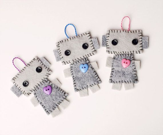 Mini Robot Plush Hanging Ornament Set of 3  Tags  by GinnyPenny, $15.00