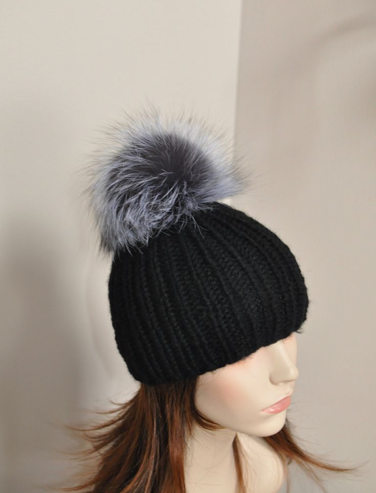 Fur PomPom Beanie 100% CASHMERE Chunky  Beanie Hat Fur pompom Ribbed Beanie Black Hat Double Bobbles Black hat Christmas Gift by lucymir on Etsy