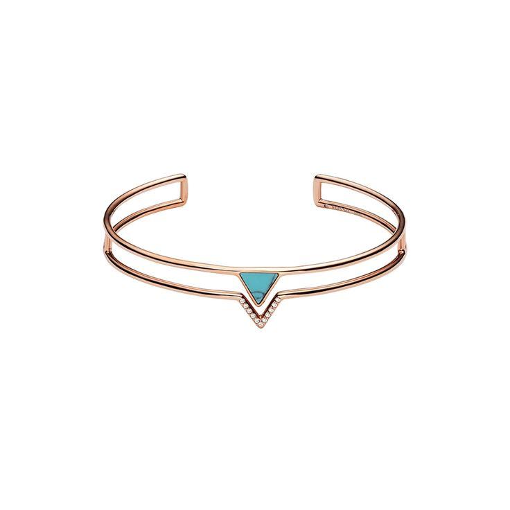 Bracelet manchette Fossil Triangle Turquoise JF02643791 pour FEMME