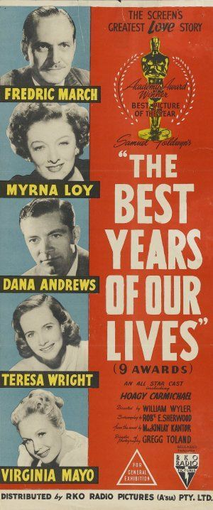 """The Best Years of Our Lives"". Myrna Loy, Frederic March, Dana Andrews, Teresa Wright and Virginia Mayo. Directed by William Wyler, 1946"