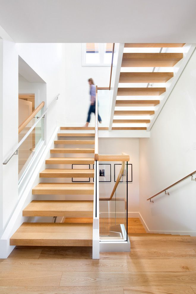 Stair Riser Calculator Inspiration For Scandinavian Staircase With Open  Riser Stairs, Glass Panel Staircase, Modern Staircase And Wide Plank Stairs  By Janet ...