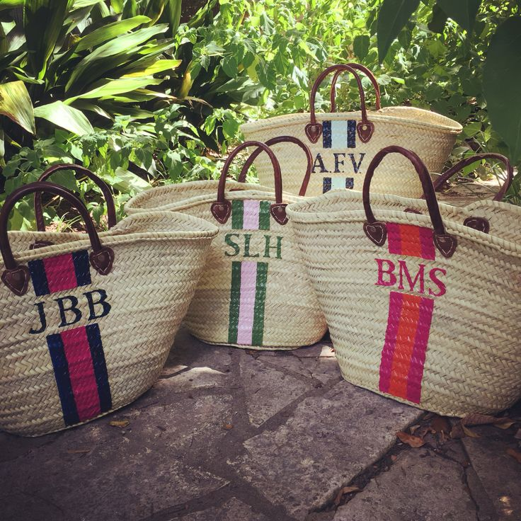 Monogrammed Straw Tote / French Market Basket by Lively Design Studio | Custom hand painted monogram / personalized #handpainted #monogram #preppy