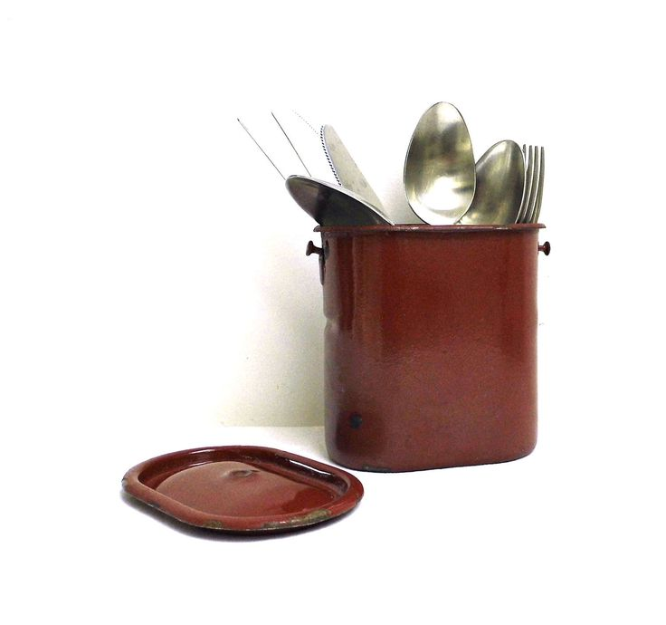 Vintage Enamel Container Metal Flatware Holder Enamel Small Pot Brown Enamel Storage Canister with Lid Rustic Enamelware Farmhouse Kitchen by WoodHistory on Etsy