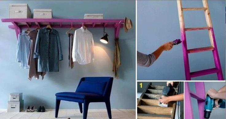 faire un porte manteau avec une chelle astuces pinterest. Black Bedroom Furniture Sets. Home Design Ideas