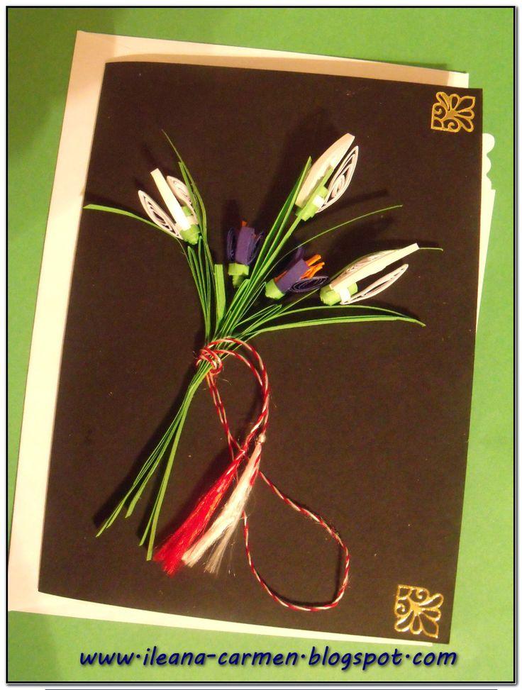 Quilling Cards with Spring Flowers. Felicitare quilling de Martisor - 1 Martie cu flori de primavara.