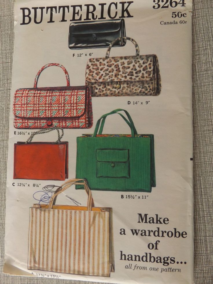 Handbag Wardrobe Incl Large or Smaller Open Totes Small and Large Envelope Bag or Clutch All Uncut/FF Vintage Butterick Sewing Pattern 3264 by DaisyandErma on Etsy https://www.etsy.com/listing/223216934/handbag-wardrobe-incl-large-or-smaller