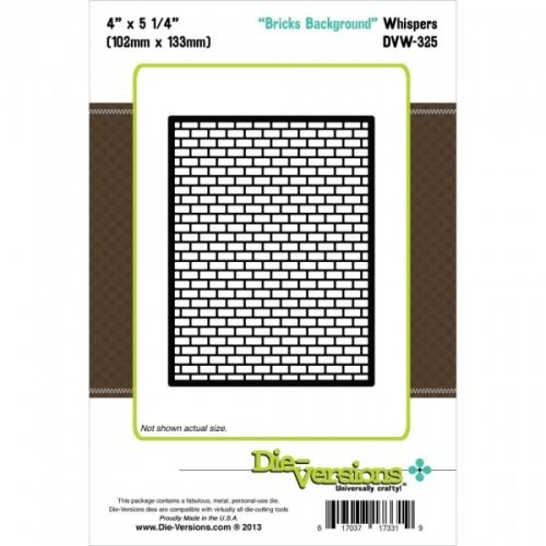 DIE VERSIONS-Whispers Background Die. Die Versions are thin; chemically etched dies that are designed to cut cardstock; vinyl; vellum; foam; thin chipboard; cork; metallic paper; felt and more. They are compatible with most die-cutting systems like Sizzix; Spellbinders; Cuttlebug and Quickcutz. This package contains one die. Design size: 4x5-1/4 inches. Design: Bricks. Made in USA.