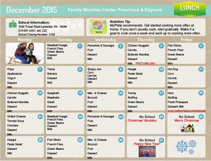 108 best Day Care - Food Plans images on Pinterest | Daycare menu ...