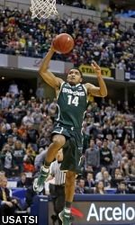 MSU defeats Michigan 69-55, in the B1G Ten Tournament, March 16, 2014. Gary Harris scored 15 points in the victory.