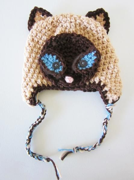 Crochet Siamese Cat Hat Pattern : 14 best images about Free cat hat tutorials on Pinterest ...