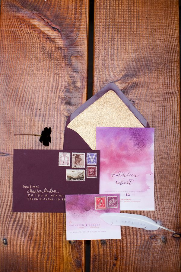 Ombre invitations - Plum and Gold Wedding Inspiration