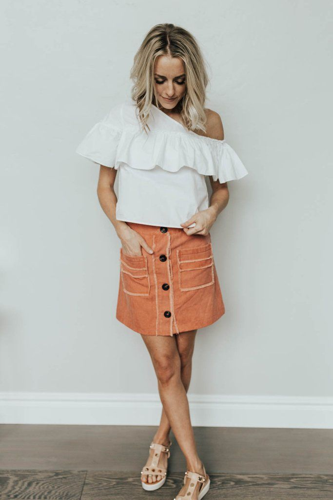 3fd3ec06059 Shelby Coral Button Up Skirt