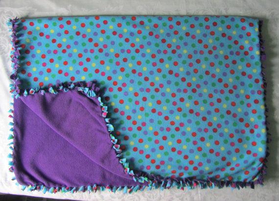 Cozy Blue polka dot fleece tie blanket/baby by BriersBlankets
