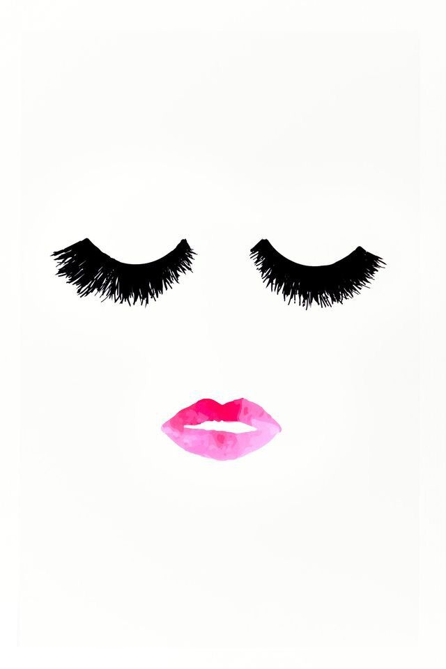 Long lashes and pink lips