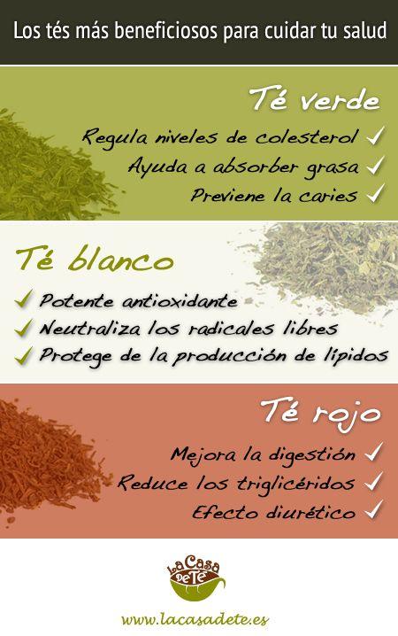 Tés más saludables: té rojo, té verde, té blanco y sus propiedades