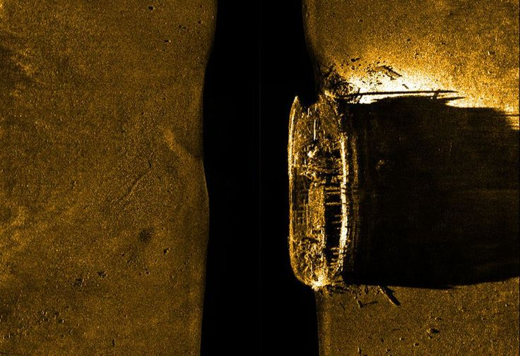 A sonar image of one of two vessels from Captain Sir John Franklin's doomed expedition.