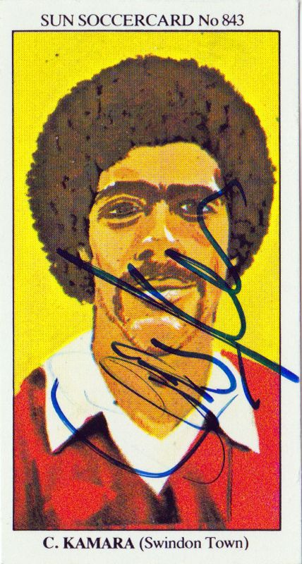 CHRIS KAMARA memorabilia - Clown prince of Sky Sports football coverage and Ladbrokes betting adverts, Kammy has had a more successful career since hanging up his boots after playing for more than 10 lower league clubs and managing two. This signed player card came from his Swindon Town days in the mid-1980s. http://www.uniquelysporting.com/football-memorabilia-sports-signed-autographed.php