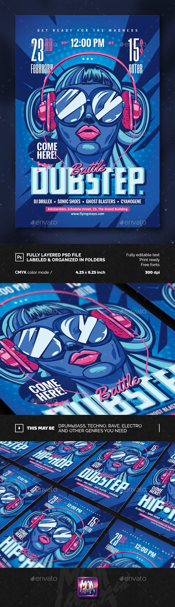 DubStep and Hip-hop Battle Party Flyer Template PSD. Download here: http://graphicriver.net/item/dubstep-and-hiphop-battle-party-flyer/14881769?ref=ksioks