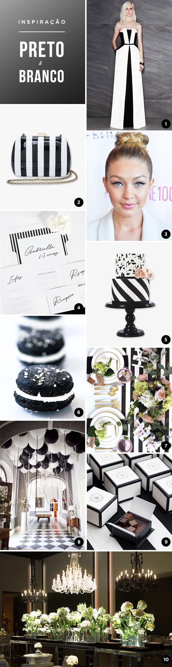 Selecionamos 10 lindas ideias para uma festa de 15 anos em preto e branco! O resultado é chic, cool e super moderno! Vem ver!