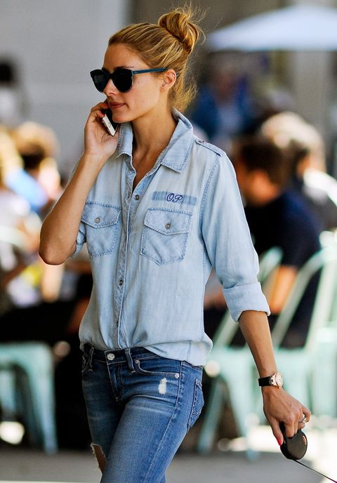Shop Olivia Palermo's monogrammed denim shirt.