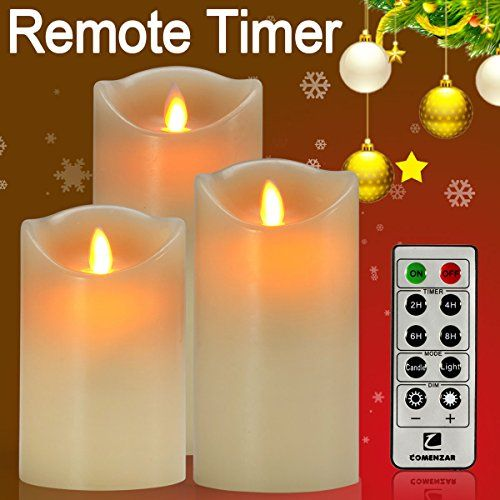 shop now comenzar flickering flamess candles flameless candles with remote timer of hours battery operated candles set of 3 for gifts - Flameless Candles With Timer