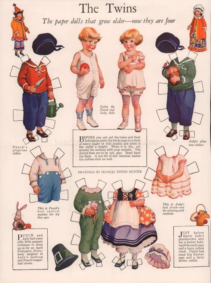 """Original Antique Frances Tipton Hunter Paper Dolls Ladies Home Journal 1920's This listing is foran original magazine pageof Frances Tipton Hunter's paper dolls """"The Twins"""" from a 1920's issue of Ladies Home Journal. The Twins are featured in several issues as they grow up. This page features the twins at age 4 with beautiful toys & clothing. Beautiful details and artwork. These were very popular in the 1920's with children who anxiously awaited each new issue. These would be just…"""