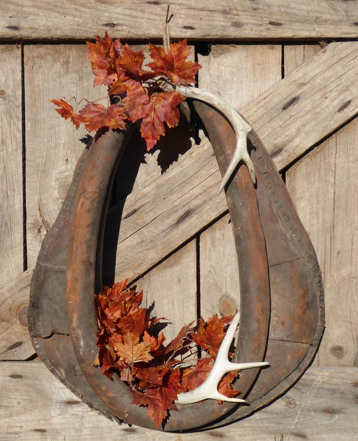 Horse Collar Wreath with Deer Antlers - Vintage Country Fall Decoration -made by me! RC