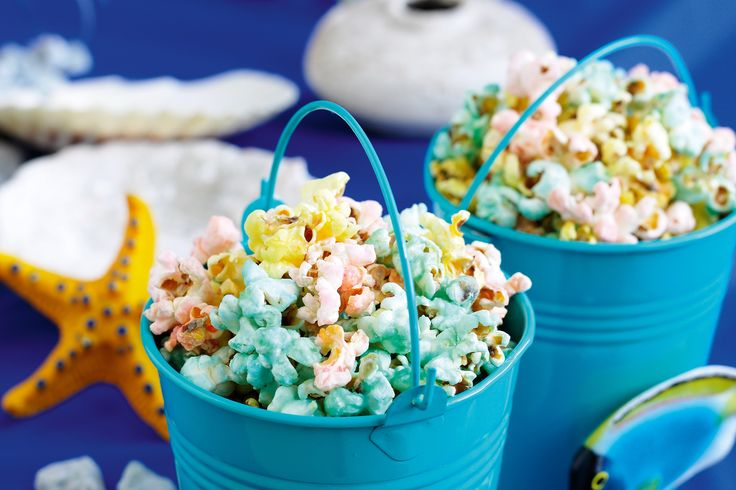 Make a splash with your next children's party by creating this colourful popcorn treat.