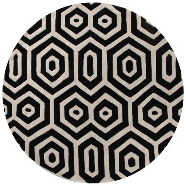 honey comb round black off white floor rugs