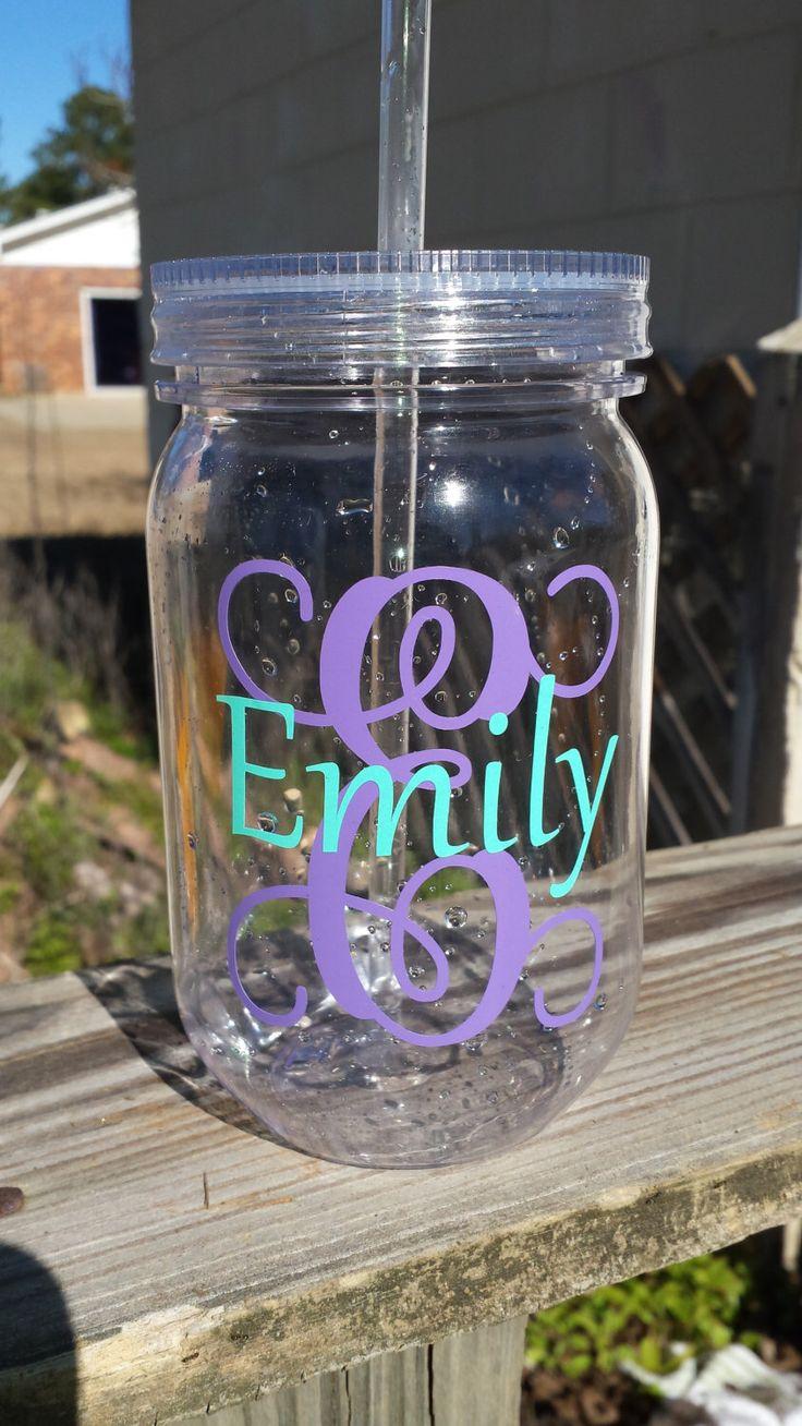 Monogrammed Tumbler - Personalized Tumbler - Monogrammed Gift - Mason Jar Tumbler - Bridesmaid Gift - Bridal Shower - Wedding Gift by EmilyBDesigns on Etsy https://www.etsy.com/listing/219000429/monogrammed-tumbler-personalized-tumbler