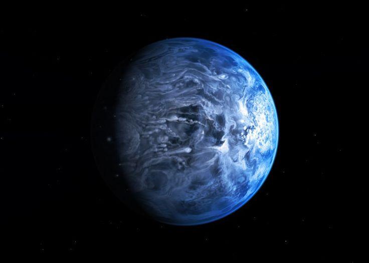 Se parece a la Tierra, pero no. En HD 189733 los vientos son de más de 7.000 hm/h, y llueven partículas de cristal. Muerte segura...