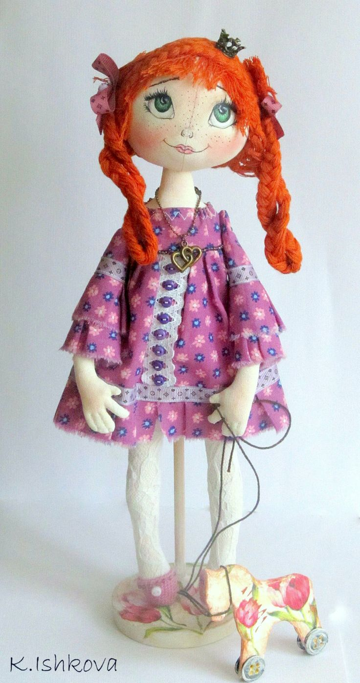 "Textile Art Cloth doll ""My Little Princess"". horse decoupage   OOAK. by Art Dolls By Kseniya on Etsy"