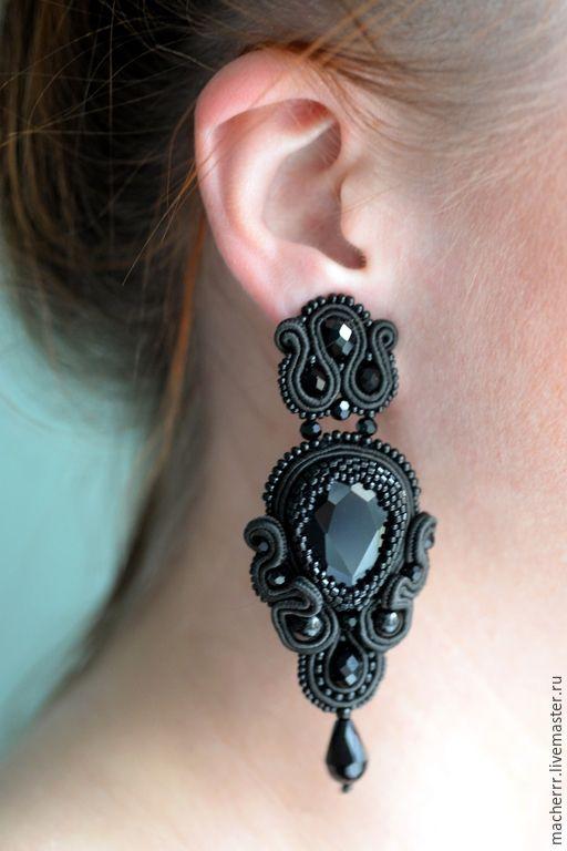 """Купить Люстры """"Мадмуазель Шанель"""" - черный, macherrr, masha macherrr, earrings, black, jewelry, серьги"""