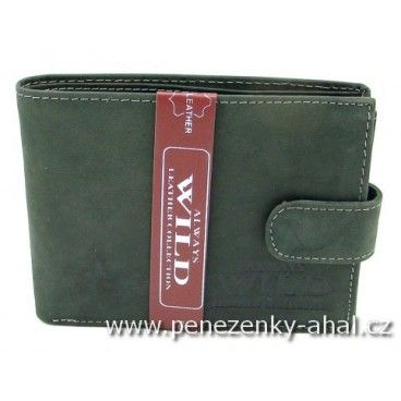 Kožená pánská peněženka černá s uzavíráním na přezku. Výrobce Always Wild.