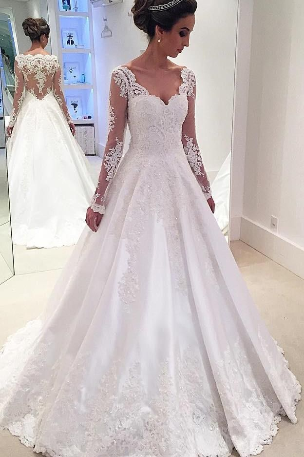 Elegant V Neck Long Sleeves Ball Gown Lace Wedding Dress with Appliques W556 42c9a5a6a7b1