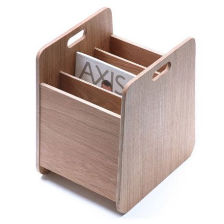 Wooden magazine holder by London designer Hugo Passos, keep your magazines stand straight