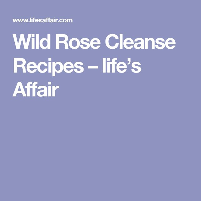 Wild Rose Cleanse Recipes – life's Affair