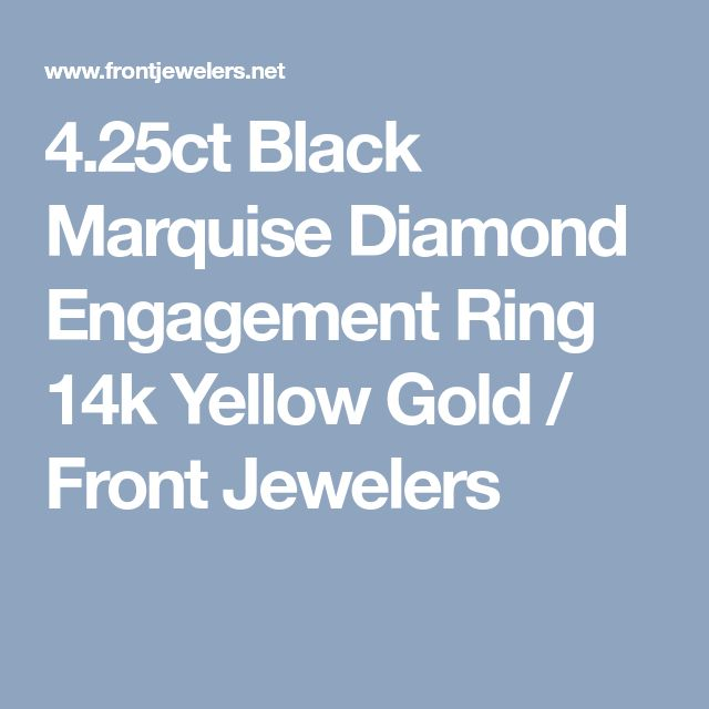 4.25ct Black Marquise Diamond Engagement Ring 14k Yellow Gold / Front Jewelers