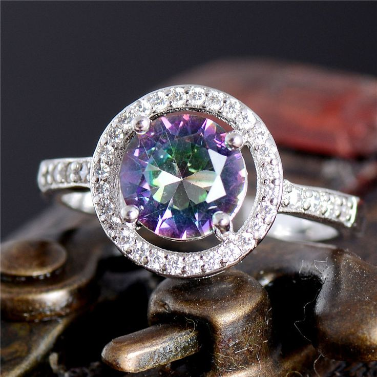 Free Shipping 925 sterling silver Multicolor CZ Womens Exquisite Wedding Ring Size 6 7 8 9 10