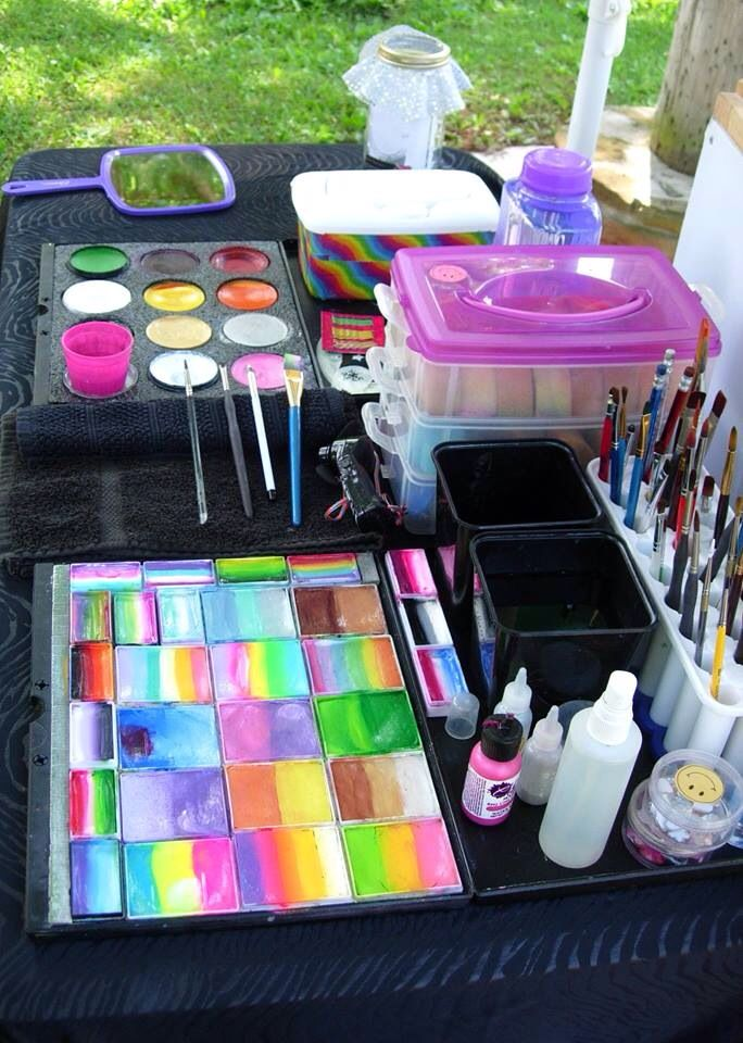 Face painting kit set up