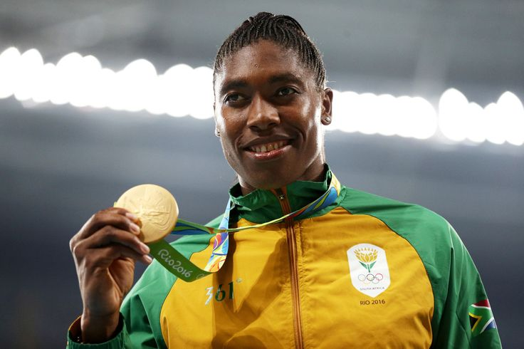 Gold medalist Caster Semenya of South Africa stands on the podium during the medal ceremony for the Women's 800 meter on Day 15 of the Rio 2016 Olympic Games at the Olympic Stadium on August 20, 2016...