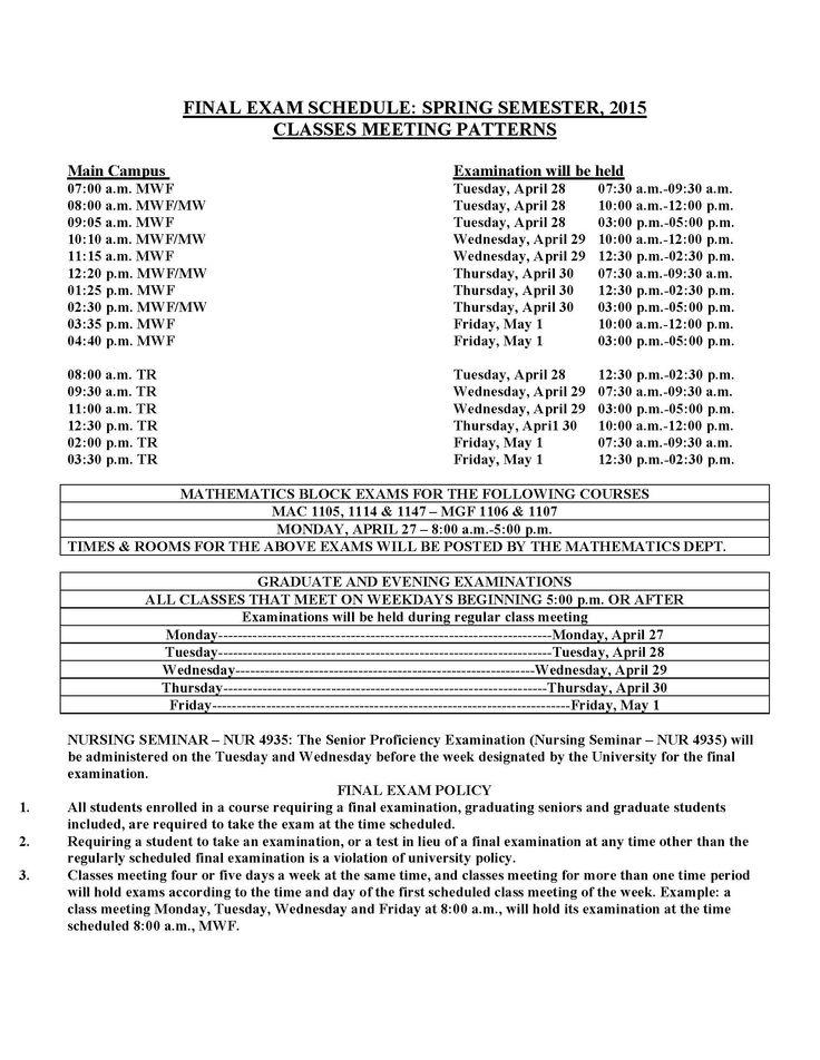 Spring 2015 Final Exam Schedule