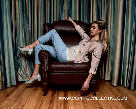 "www.corpocollective.com... jacket, ARMANI COLLECZIONI; silk top P, DVF; crop pant, THEORY; shoes, SALVATORE FERRAGAMO; ""effervescence"" bracelet, LINKS OF LONDON; earrings, HOLT RENFREW MODEL: Katie Aquila STYLIST: Asha Binti Kingombe (clothing courtesy Holt Renfrew) PHOTOGRAPHY: Zac Pantalone HAIR: Dana Stefanelli MAKE-UP: Andreé Beaudoin"