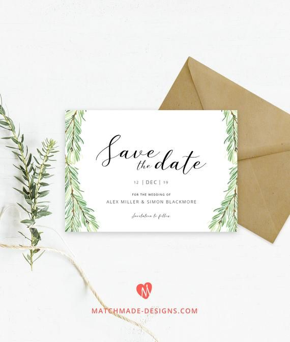 pine save the date template winter save our date printable